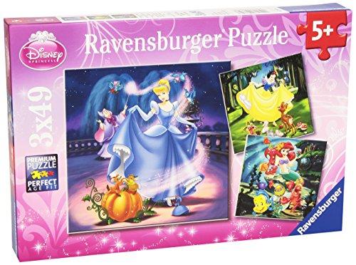 Ravensburger 09339 - Schneewittchen, Aschenputtel, Arielle, 3 x 49 Teile Puzzle (Prinzessin Disney Für Mädchen)