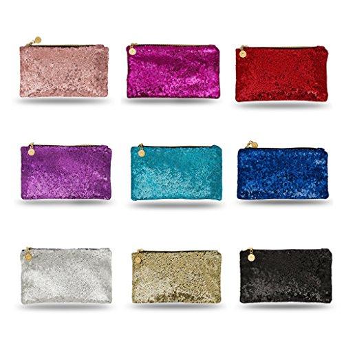 Lady Donovan - Clutch - Edle Abendtasche für Damen und Mädchen - Portemonnaie mit Reißverschluß - ideal für die Party oder Hochzeit - glitzernd Pink