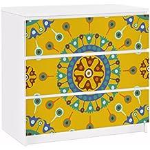 Vinilo adhesivo para muebles IKEA - Malm Dresser 3xDrawers - Wayuu Design, Größe:3 mal 20cm x 80cm