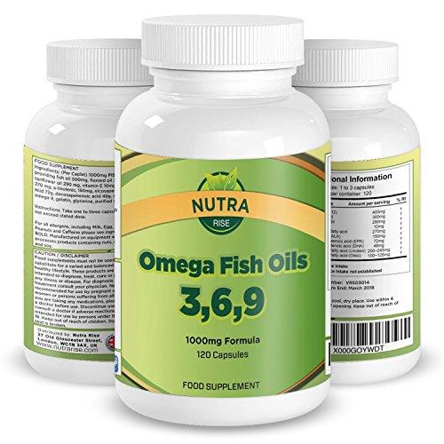 Omega 3 6 9 Olio di Pesce 1000 mg Supplementi Capsule, Formula Migliorata DHA EPA Acidi Grassi Per Supporto Articolazioni, Cuore e Cervello, Migliorare la Memoria, Regolare il Colesterolo, 120 Capsule