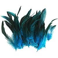 Lot 50 Plumes de Coq Anciennes Naturelles pour Bijoux Sac DIY 12-18cm Bleu