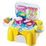HERSITY 26 Stück Küche Kochen Spielzeug Tragetasche & Hocker 2in1 mit Licht und Soundeffekt Rollenspiel Lebensmittel Spielset Geschenke für Kinder