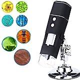 YMN 1000x Monoculare Microscopio, Microscopio Digitale USB, con 8 LED, per Regalo Educativo per Bambini,