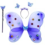 Wobbox Girls Butterfly Wings, Fairy Wings, And Angel Wings For Kids. For Garden Parties, Birthday Parties And Much More. 3 Piece Set Single Layer (Purple)