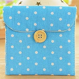 MOMEY Cute Polka Dot Cotton Sanitary Napkins Bag Menstrual Cup Pouch Nursing Pad Holder Bag Button Bag