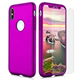 Joseche iPhone X Fall, 360 Full Body Schutz TPU Soft Slim Case [Stoßdämpfung] Easy Grip Cover mit gehärtetem Glas Displayschutzfolie für Apple iPhone X