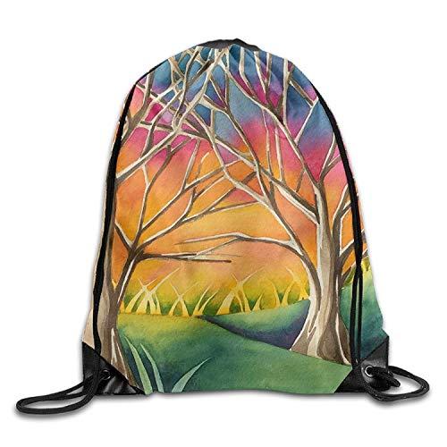 uykjuykj Tunnelzug Rucksäcke, Gym Drawstring Bags Tree Sunset Color Draw Rope Shopping Travel Backpack Tote Student Camping Lightweight Unique 17x14 IN (Rucksäcke Tree Dollar)