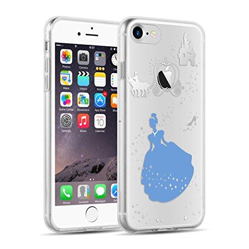 Cover iPhone 8 Cover iPhone 7, JAMMYLIZARD [Sketch] Custodia in Silicone Trasparente Semi Morbido Ultra Slim con Disegno per Apple iPhone 8 e Apple iPhone 7, ALICE SILHOUETTE ELLA SILHOUETTE