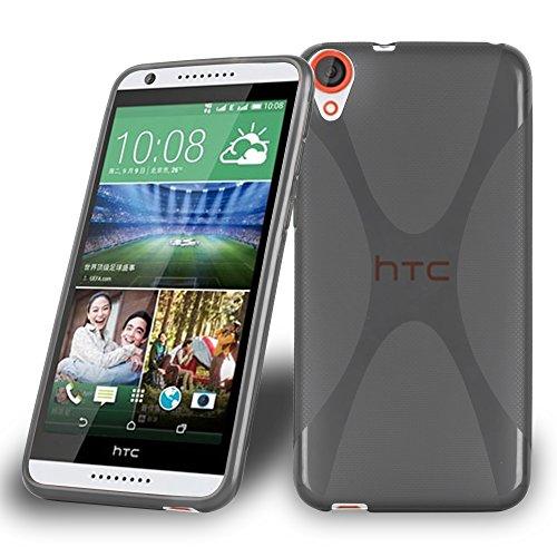 Cadorabo Hülle für HTC Desire 820 Hülle in Handyhülle aus flexiblem TPU Silikon im X-Line Design Silikonhülle Schutzhülle Soft Back Cover Case Bumper Oxid Schwarz