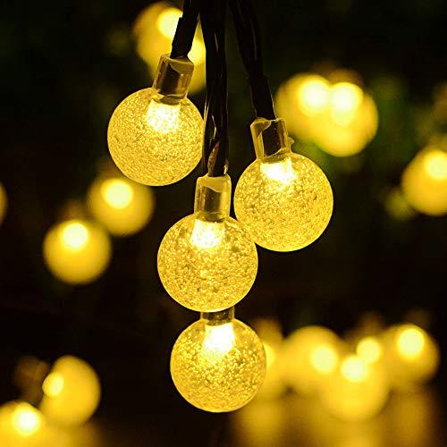 Kaiercat® luci a filo solari da esterno, luci sferiche impermeabili per giardino, patio, cortile, casa, albero di natale e decorazioni natalizie (bianco caldo)