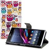 kwmobile Hülle für Sony Xperia Z1 - Wallet Case Handy Schutzhülle Kunstleder - Handycover Klapphülle mit Kartenfach und Ständer Eule Familie Design Mehrfarbig Pink Weiß