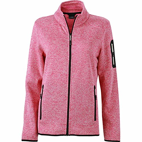 JAMES & NICHOLSON - veste tandance polaire tricotée - col montant - JN761 - Femme rose vif