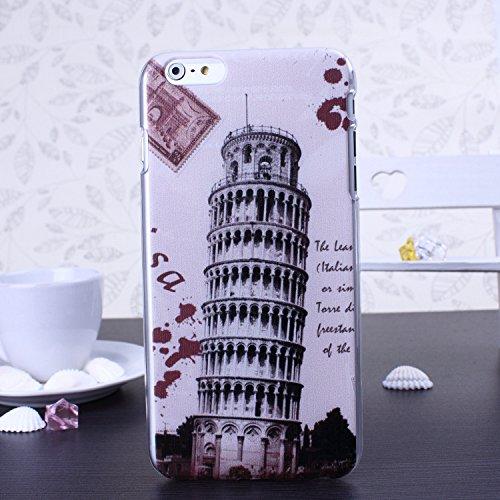 Bunte Nationale Berühmte Gebäude Big Ben Schiefen Turm von Pisa Freiheitsstatue Design Kunststoff Hard Case für IPhone 6S 6 ( Color : 3 , Size : IPhone 6S 6 ) 6
