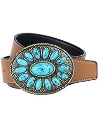 MagiDeal Ceinture Homme en Cuir PU Western Cowboy Boucle Pierre Bleue  Délicat Vintage fb06ac4749d