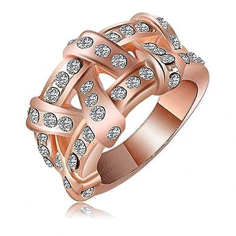 AnaZoz Schmuck 18K Rose Gold Überzog Österreichisches Kristall Ring Frauen Ring 13 * 23Mm (Frauen Österreichischen Kristall-ring)