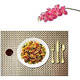PVC Table Mats/Place Mats/Drawer Mats/Fridge Mats/Multipurpose Mats/Refrigerator Mats/Dinner Mats/Dinning Mats/Kitchen Place Mats, 30x45cm, 6 Piece Set-(T18X16516-IVORY)