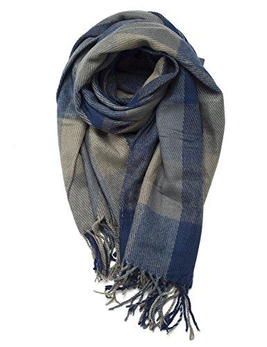 Damen Kariert Oversized Kaschmir Schal lange Weich Wraps grosse Schal Für Herbst/Winter (blau)