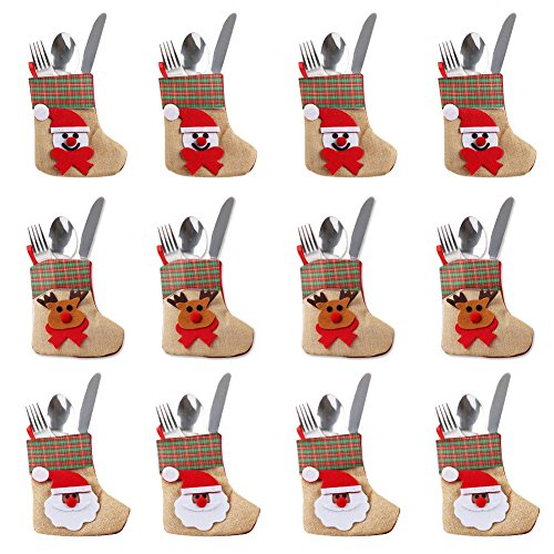 Aytai 12pcs xmas argenteria posate tasche, portacoltelli di natale coltelli borsa forche per la decorazione della tavola di natale
