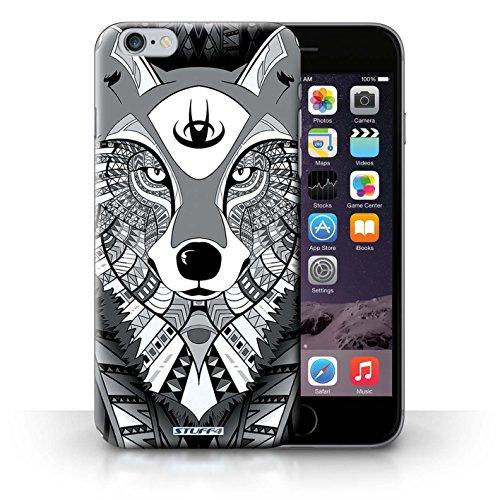 Hülle für iPhone 6+/Plus 5.5 / Wolf-Purpur / Aztec Tier Muster Kollektion Wolf-Mono