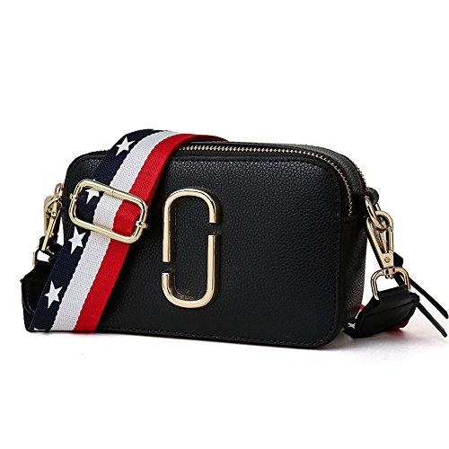 Petit sac carré haut de gamme en cuir neuf Sacs bandoulière pour les femmes petit sac à bandoulière petit sac carré avec large bandoulière Messenger Bag (noir)