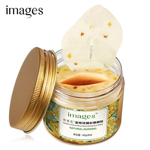 Goldene-blatt-grüner Tee Tee (JIANGFU Goldene Osmanthus / Augenmaske, 80PC Osmanthus Augenmaske Essence Extraction Moisturizing Nourish zu dunklen Kreisen)