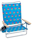 Rio Brands Classic 5 Position Lay Flat Folding Beach Chair, Multi/Light Blue