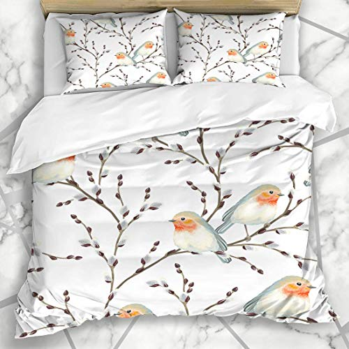 Soefipok Bettbezug-Sets Muster Beige Botanical Willow Branches Vögel Robin Vintage Blue Branch Rustikal Provence Floral Ziege Mikrofaser Bettwäsche mit 2 Pillow Shams Vintage Blue Willow