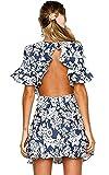Angashion Damen Sommerkleider Blumenmuster Kurzes Backless Strandkleid Partykleid Navy Blau M