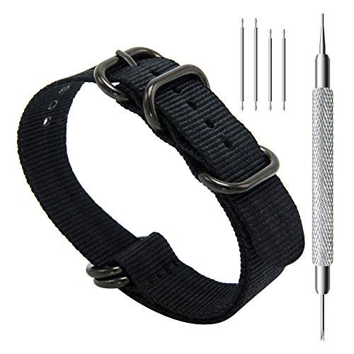 CIVO Uhrband Heavy Duty G10 Zulu Militär Uhrenarmband NATO Premium Ballistisches Nylon Uhr Armband 5 Schwarze Ringe mit Edelstahl Schnalle 20mm 22mm 24mm (black, 20mm) (Orange-brown-leder-armband)
