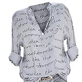 Riou Economiche Camicia Donna Elegante Manica Lunga Primavera Estive Bluse Elegantei Casual Taglie Forti Sciolto Bottoni Stampa Bavero Sexy Moda Plus Size T-Shirt Camicetta Blusa