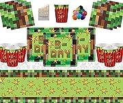 Confezione 16-16 bicchieri di carta, 16 fogli di carta, 16 tovaglioli di carta, 1 tovaglia in plastica   Palloncini gratuiti, matite colorate assortite  Dettagli sulle forniture per feste di compleanno di TNT  Piatti di carta quadrati per fe...