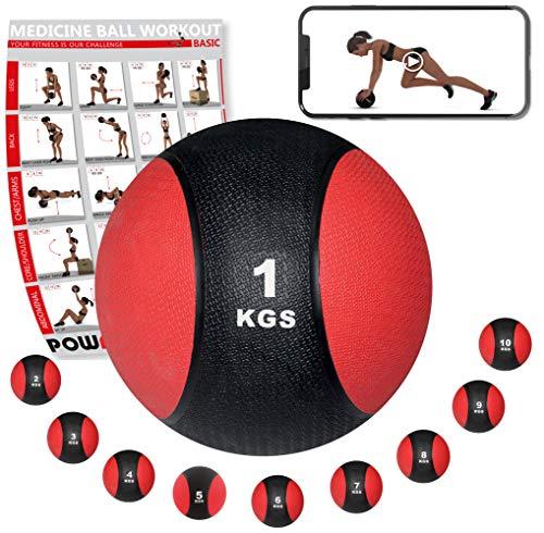 POWRX - Balón Medicinal 1 kg + PDF Workout Negro/Rojo