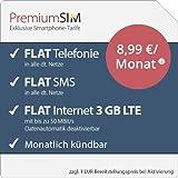 PremiumSIM LTE S Allnet Flat [SIM, Micro-SIM und Nano-SIM] monatlich kündbar (FLAT Internet 3 GB LTE mit max. 50 MBit/s mit deaktivierbarer Datenautomatik, FLAT Telefonie, FLAT SMS und FLAT Europa, 8,99 Euro/Monat)