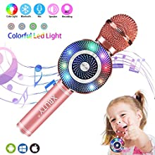 Wireless Karaoke Microphone, Handheld Bluetooth Microphone with Speaker RGB light Echo Mic Portable Karaoke Player for Kid Adult Girl Home Party Singing Gift, Compatible iPhone Android (Rose Gold)