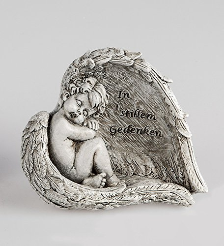 Klp Grabschmuck Grabstein Engel im Flügel Gedenkstein Spruch Grab Deko Garten Figur