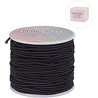 BENECREAT 2 mm 50m cordón elástico alargar el hilo cordón de rebordear tela de tela de artesanía (2 mm, 50 Yard, negro)