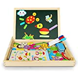 Innoo Tech Magnetic Jigsaw Puzzles Educational Wooden Toy for Kids 3 4 5 Years Old | Double Sided Magnetic Drawing Board with 3 Color Pens | Human&Animal Theme | 70 Pieces
