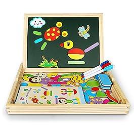 Magnetico puzzle | Innoo Tech educativo giocattolo in legno per bambini, 345anni | doppio magnetico tavolo da disegno con 3penne di colore | umana & Animal Theme | 70pezzi