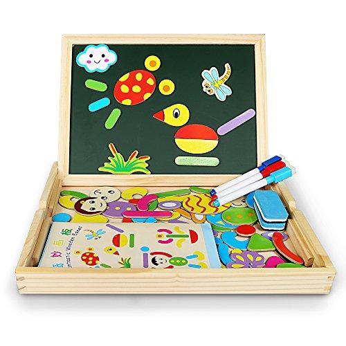 Magnetisches Holzpuzzles, Innoo Tech 70 Stück Doppelseitige Holzpuzzle, Magnetisches Holzspielzeug, Puzzle aus Holz, Pädagogische Lernspiel, Tolles Geschenk für Baby Kleinkinder ab 3 Jahre
