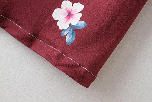 Hibluco Damen Casual 3/4 Ärmel Lang Strickjacke Blumendruck Jacke Outwear Rot