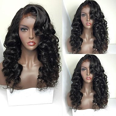 MZP 8A Brazilian Full Lace Human Hair Wig For Woman Wavy Human Hair Wigs With Baby Hair Full Lace Wig , large