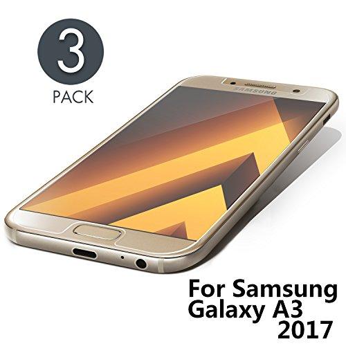galaxy a3 glas Aribest Samsung Galaxy A3 2017 Panzerglasfolie - 3 Stück, Panzerglas Schutzfolie Für Samsung Galaxy A3 2017,Ultra-klar 9H Härte, HD Klar, Anti-Öl, Anti-Kratzen, Anti-Bläschen, 3D Touch Kompatibel
