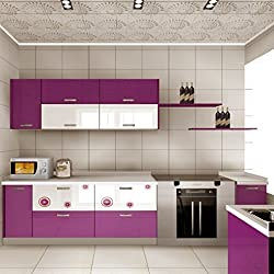 KINLO 5M Papier Peint Adhésif Rouleaux Reconditionné pour Armoires de Cuisine en PVC Self Adhesive Autocollant Meubles Porte Mur Placards Stickers Mural - Violet