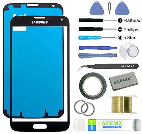 galaxy s5 glas Acenix Ersatzteile-Set für Samsung Galaxy S5, 1 x Touchscreen-Abdeckung, Schwarz, mit vorderem Glas-Objektiv, 1x Rolle doppelseitiges Klebeband 2 mm, 1x Rolle goldener Molybdän-Draht, 1x Pinzette, 1x hochwertiges Reinigungstuch, 1x Saugnapf mit Schraubenzieher und Kunststoff-Hebelwerkzeug, 17-teilig