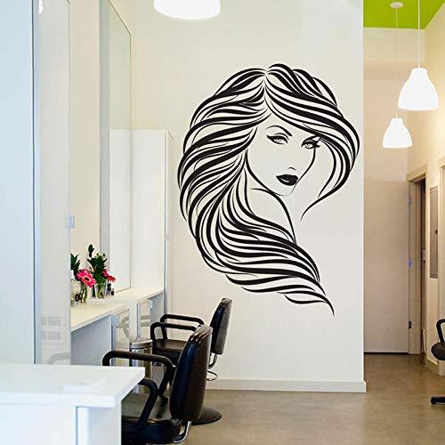 Friseursalon Vinyl wandaufkleber Lockiges Haar Frau Gesicht muster Abnehmbare Aufkleber Salon Decor raumdekoration 57x79 cm -