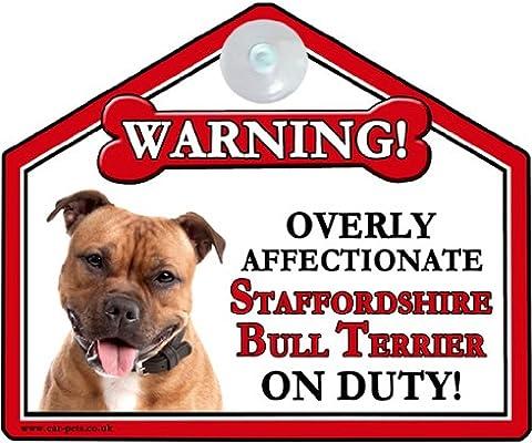 STAFFORDSHIRE BULL TERRIER (RED) Dog Gift. High Gloss Plastic Warning