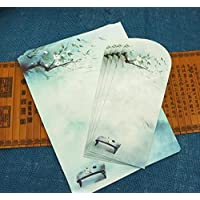 Letter Paper - Chinese Vintage Style Envelope Writing Paper Chinese Letter Paper (Green)