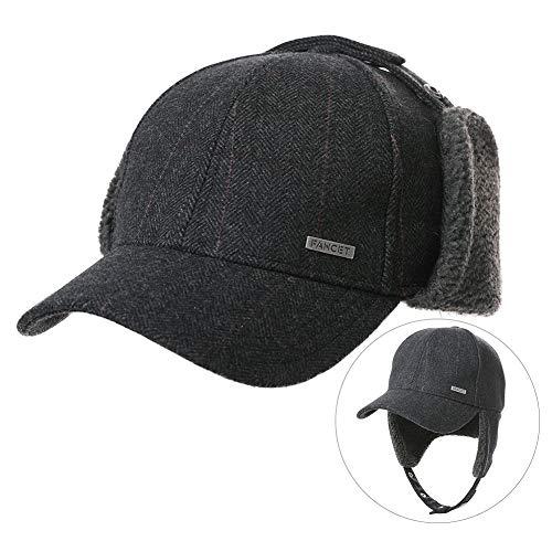Damen Baseballmütze aus Tweed mit Ohrenklappe, Fleece, 56-60 cm, Damen, Dark Grey_99726, Medium - Fleece-flap Hat