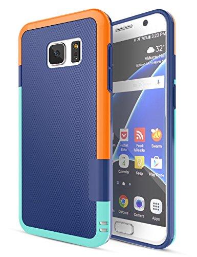 Funda Galaxy S7 - [Ultra Hybrid] HanLuckyStars Funda Carcasa Case TPU Matte Shell Exact Bumper Tope Shock Protección Gota Anti-Arañazos , Choque Absorción Borrar Espalda para Samsung Galaxy S7 (Azul)