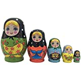 Pivizon 5pcs Set Of Russian Nesting Dolls Cute Girl Matryoshka Wooden Dolls Toy For Kids Birthday Gift Idea For Daughter